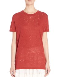 IRO - Red Clay Distressed Cutout Linen Tee - Lyst