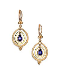 Temple St. Clair | Metallic Celestial Sapphire, Diamond & 18k Yellow Gold Double-ring Pear Spin Drop Earrings | Lyst