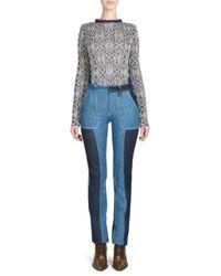 Chloé - Blue Metallic Jacquard Knit Sweater - Lyst