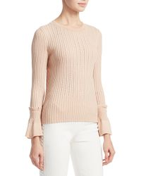 Jonathan Simkhai Natural Perforated Knit Crewneck Sweater