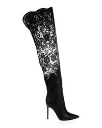 Gianvito Rossi Black Floral Lace & Leather Over-the-knee Boots