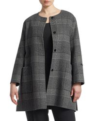 Marina Rinaldi Gray Notte Wool Plaid Coat