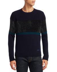 Emporio Armani | Blue Chenille Crewneck Colorblock Wool Sweater for Men | Lyst