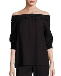 Lafayette 148 New York - Black Marlo Silk Off-the-shoulder Blouse - Lyst