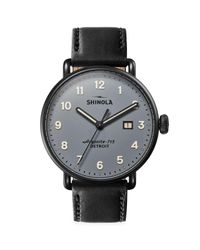 Shinola Black Canfield Leather Strap Watch for men