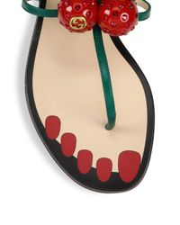 Gucci - Multicolor Hatsumomo Cherry Leather Thong Sandal - Lyst