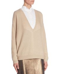 Brunello Cucinelli Natural V-neck Sequin Sweater