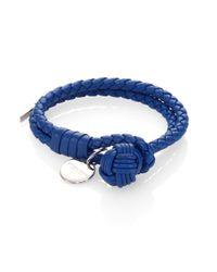 Bottega Veneta - Blue Intrecciato Leather Double-row Wrap Bracelet - Lyst