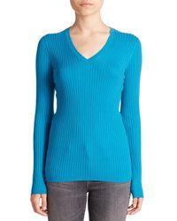 Vince - Blue Skinny Ribbed V-neck Sweater - Lyst