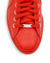 Jimmy Choo | Red Star Studs Leather High-top Sneakers for Men | Lyst