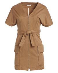 A.L.C. Brown Bellamy Belted Stretch Cotton Dress