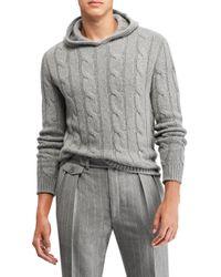 Ralph Lauren Purple Label Gray Cable Knit Hoodie Sweater for men