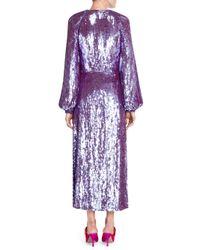 Attico Purple Sequin Robe Dress