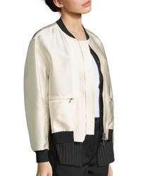 3.1 Phillip Lim White Layered Shirttail Hem Bomber Jacket