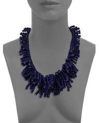 Nest - Black Lapis Beaded Fringe Bib Necklace - Lyst