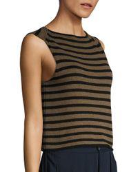 Vince - Black Striped Knit Tank Top - Lyst