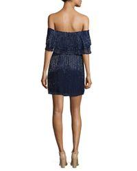 Parker Black Blue Kiera Off-the-shoulder Silk Dress