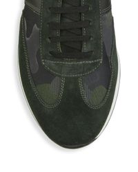 Saks Fifth Avenue - Green Collection Camo Leather & Suede Sneakers for Men - Lyst