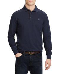 Polo Ralph Lauren Blue Stretch Long-sleeve Mesh Polo for men