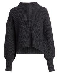 A.L.C. Gray Helena Drop-shoulder Mockneck Sweater