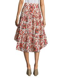 Joie Multicolor Clarke Floral Cotton High-low Skirt