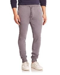 Wahts - Gray Cotton & Cashmere Cuffed Sweatpants for Men - Lyst