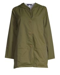Eileen Fisher Green Women's Reversible Hooded Jacket - Olive - Size Large