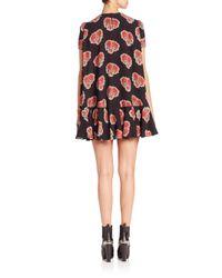 Alexander McQueen - Black Silk Georgette Floral-print Swing Back Dress - Lyst