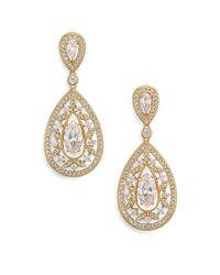 Adriana Orsini - Metallic Pave Crystal Small Pear Drop Earrings/goldtone - Lyst