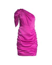 Aidan By Aidan Mattox Pink Draped One-shoulder Dress
