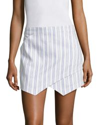 BCBGMAXAZRIA - White Asymmetrical Striped Mini Skirt - Lyst