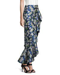 Alice + Olivia Blue Lovetta Floral High Low Skirt