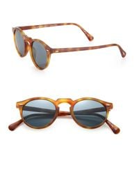 Oliver Peoples - Brown Gregory Peck 47mm Round Sunglasses for Men - Lyst