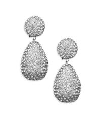 Kenneth Jay Lane - Metallic Dome Top Crystal Drop Earrings - Lyst