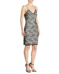 Alice + Olivia Black Stila Lace Slip Dress