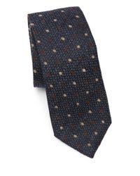 Brunello Cucinelli Blue Polka-dot Wool-silk Tie for men