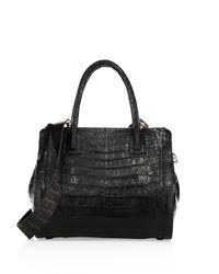 Nancy Gonzalez Black Crocodile Floral Top Handle Bag
