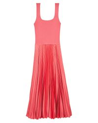 Theory Pink Pleated Contrast Midi Dress