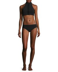 Jonathan Simkhai - Black Lace-trim Halter Bikini Top - Lyst