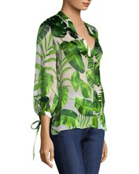 Alice + Olivia Green Sheila Leaf-print Blouson-sleeve Top