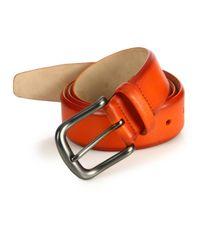 Saks Fifth Avenue Orange Hives Burnished Leather Belt for men