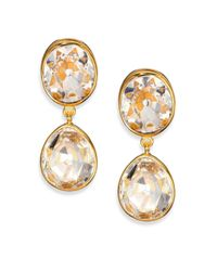 Kenneth Jay Lane - Metallic Jeweled Clip-on Drop Earrings - Lyst
