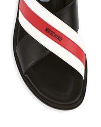 Moschino Black Stripe Leather Slider Sandals for men