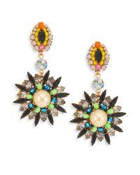 Erickson Beamon - Metallic Safari Faux Pearl & Crystal Drop Earrings - Lyst