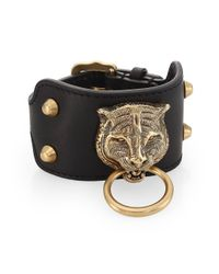 Gucci - Black Leather Bracelet With Feline Head for Men - Lyst