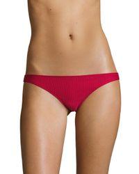 Made By Dawn - Red Coral Ribbed Basic Bikini Bottom - Lyst