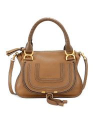 Chloé Brown Small Marcie Leather Satchel
