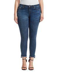 Marina Rinaldi Blue Frayed Step-hem Skinny Jeans