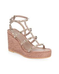 d19f930fdc81 Valentino Rockstud Caged Wedge Sandals - Lyst