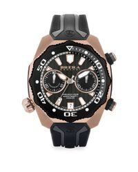 Brera Orologi - Metallic Pro Diver Rose Goldtone Stainless Steel & Rubber Strap Watch for Men - Lyst